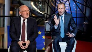 Le Néerlandais Frans Timmermans pour les sociaux démocrates et l'Allemand Manfred Weber pour le parti populaire européen.