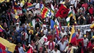 Manifestación en Quito, Ecuador, este 12 de agosto de 2015.