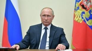 Tổng thống Nga, Vladimir Putin, trong một lần phát biểu truyền hình ngày 02/04/2020, tại điện Kremlin, Matxcơva.