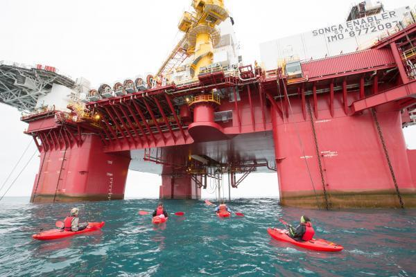 Oil drilling in the pristine Norwegian Arctic. Greenpeace argues such activities in high seas further climate change and breaches Paris Agreement.