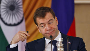 Russian President Dmitry Medvedev at a joint news conference with Indian Prime Minister Manmohan Singh
