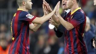 Lionel Messi entrou em campo no lugar de Andrés Iniesta no jogo de quarta-feira, 7 de janeiro de 2014.