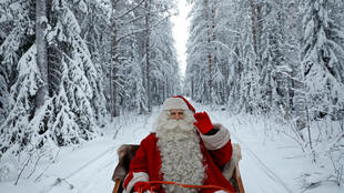 Santa Claus rides in his sleigh as he prepares for Christmas in the Arctic Circle near Rovaniemi, Finland December 15, 2016.