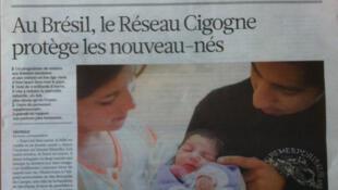 O jornal La Croix traz nesta quarta-feira uma reportagem sobre o programa brasileiro Rede Cegonha.