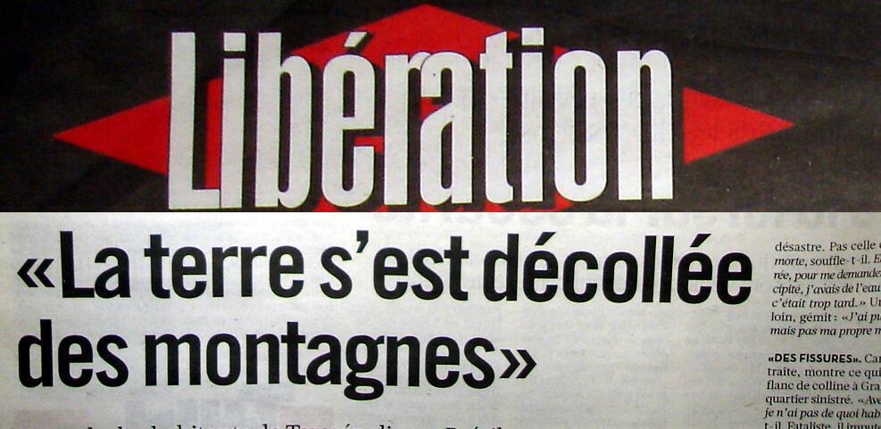 Jornal francês Libération dá destaque para os deslizamentos de terra em Teresópolis.