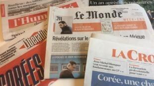 Primeiras páginas dos jornais franceses de 27 de abril de 2018