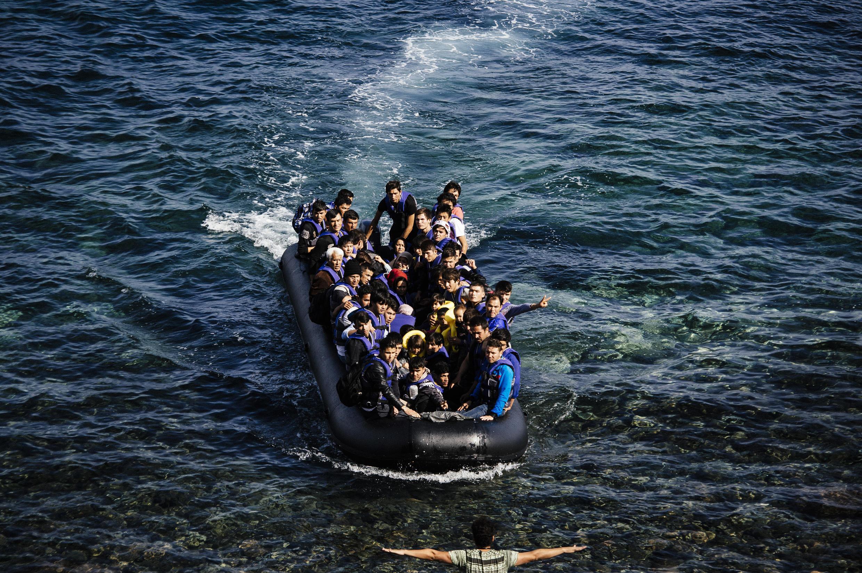 Người tị nạn ngoài khơi đảo Lesbos, Hy Lạp, ngày 18/10/2015.