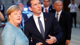La chancelière allemande Angela Merkel et son homologue autrichien Sebastian Kurz lors d'un sommet informel des chefs d'Etat européens, le 19 septembre 2018, à Salzbourg.