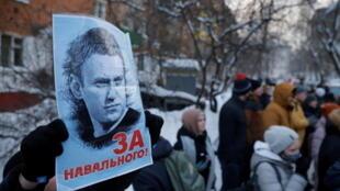 Partdários  de Aleksei  Navalny  no dia i8  de Janeiro de 2021