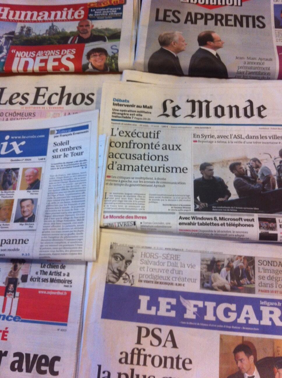 capas diários franceses 25/10/2012