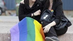 Pareja de lesbianas en Uruguay, el mes de abril pasado
