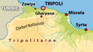 Carte de la côte nord-ouest de la Libye.