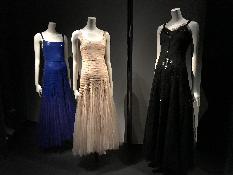 Evening gowns on display at the Gabrielle Chanel: Manifeste de Mode exhibition, Musée de Mode, Palais Galliera, Paris October 2020- March 2021