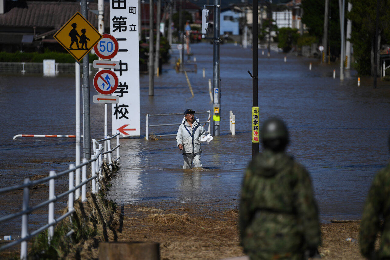 O distrito de Shibata (Miyagi), neste domingo (13), após passagem do Hagibis.