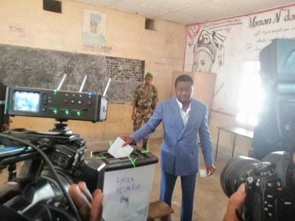 Le président sortant Faure Gnassingbé a voté dans son fief familial de Pya.