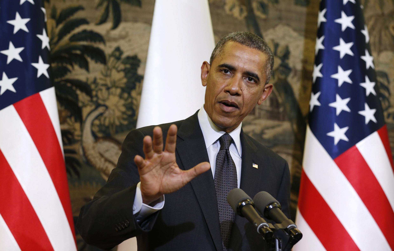 O presidente americano Barack Obama durante coletiva de imprensa no Palácio de Belweder, em Varsóvia, na primeira etapa de seu giro europeu.