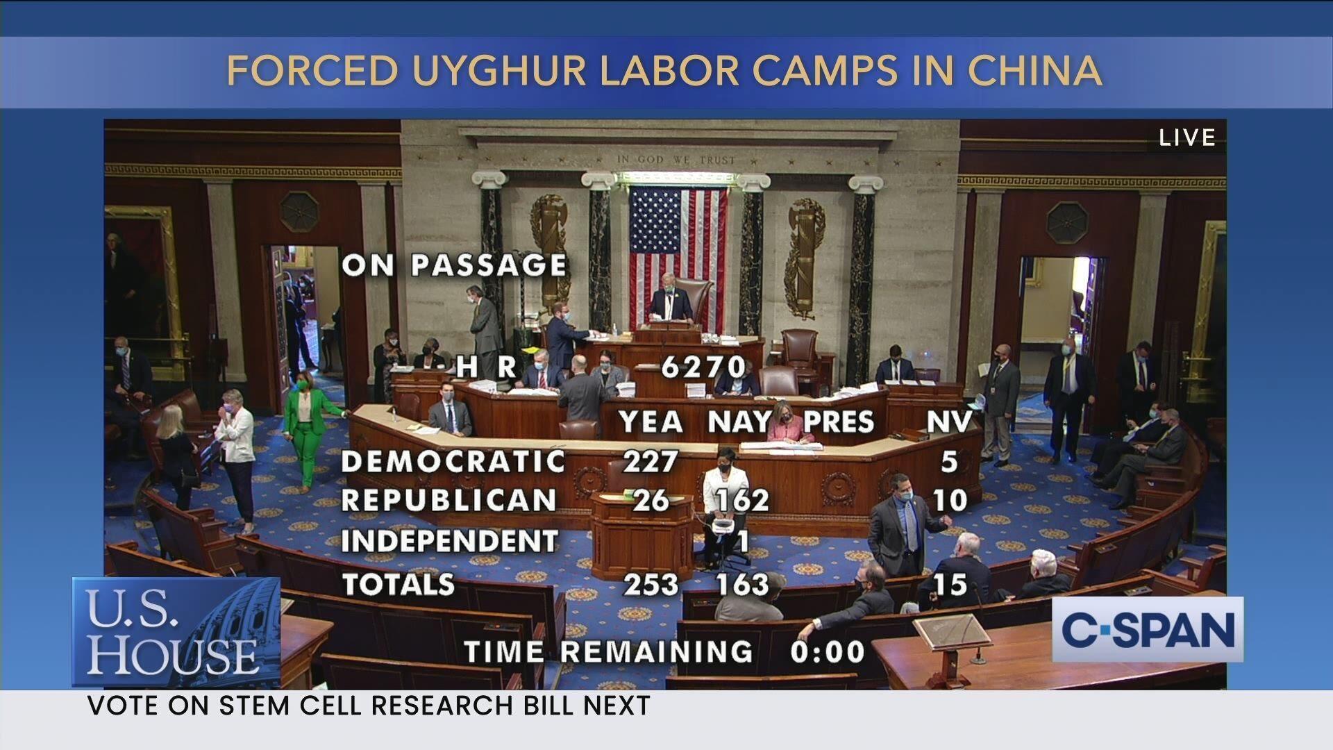美国国会众议院就《强迫维吾尔人劳动披露法案》的表决结果