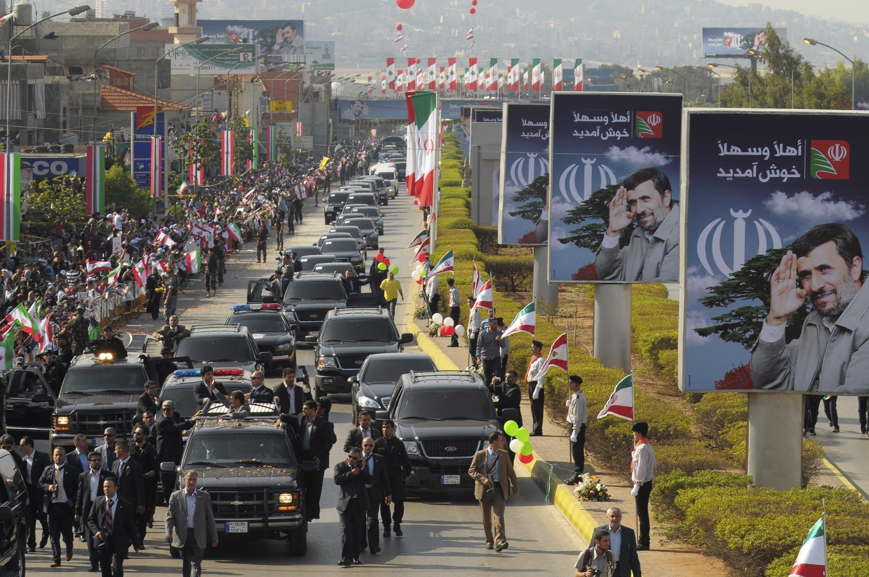 Chegada a Beirute do presidente do Irã, Mahmoud Ahmadinejad, para uma visita oficial de dois dias ao Libano.