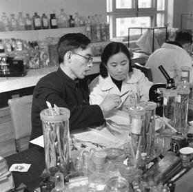 Youyou Tu en 1951 cuando tenía 20 años, a su lado el profesor Lou Zhicen, en el laboratorio de la Universidad de Pekín.