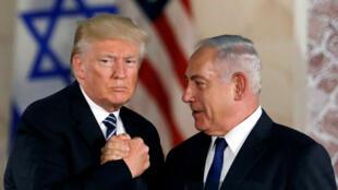 Les présidents Donald Trump et le Premier ministre d'Israël Benyamin Netanyahu, à Jérusalem, le 23 mai 2017.