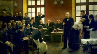 Ce tableau de 1887 représente l'une des célèbres leçons d'hypnose de Charcot à l'hôpital de la Salpétrière, à Paris.