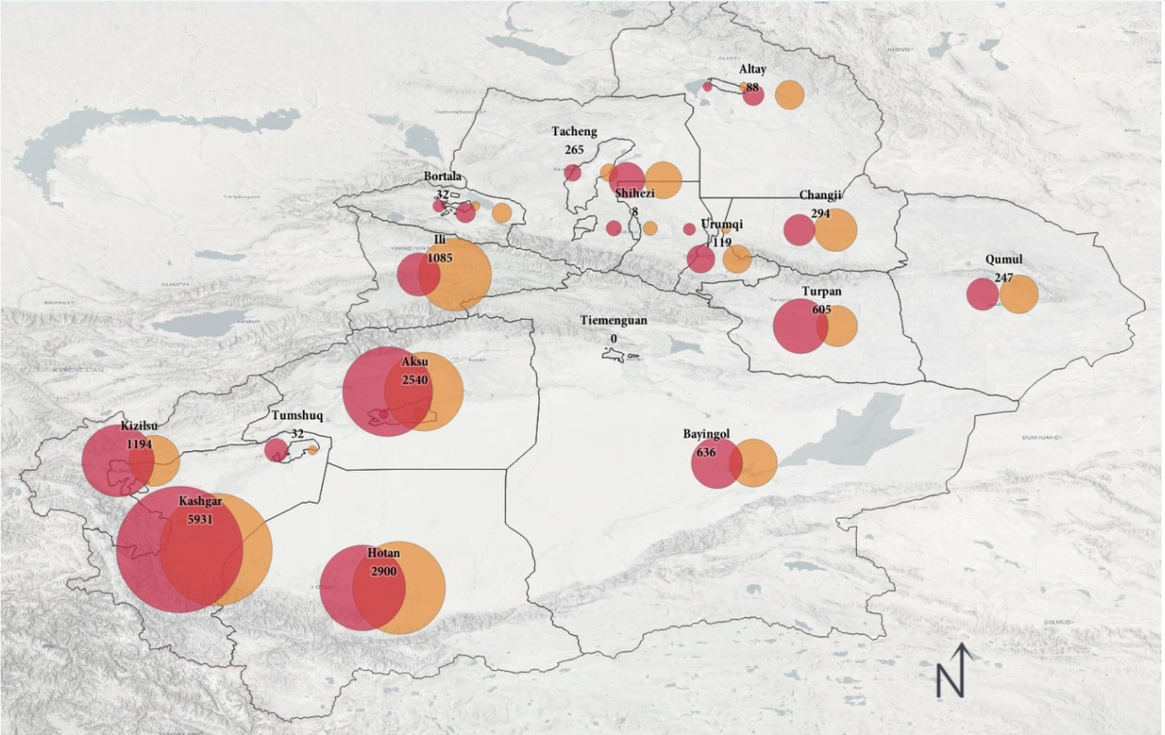 Red dots represent the estimated number of destroyed mosques, orange represents the estimated number of damaged mosques. The number written shows these two combined.
