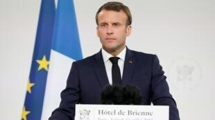 Tổng thống  Emmanuel Macron phát biểu tại văn phòng bộ trưởng Quốc Phòng Pháp ngày 13/07/2019.