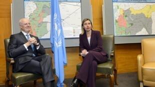 Federica Mogherini e Staffan de Mistura se reúnem em Genebra, na Suíça, para discutir a crise na Síria.