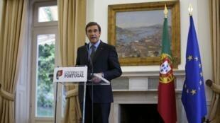 O primeiro-ministro português, Pedro Passos Coelho, em pronunciamento nesta terça-feira, dia 2 de julho, após a demissão do ministro das Relações Exteriores, Paulo Portas.