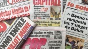 La une des journaux sénégalais le 3 août 2017 au lendemain des résultats des élections législatives.
