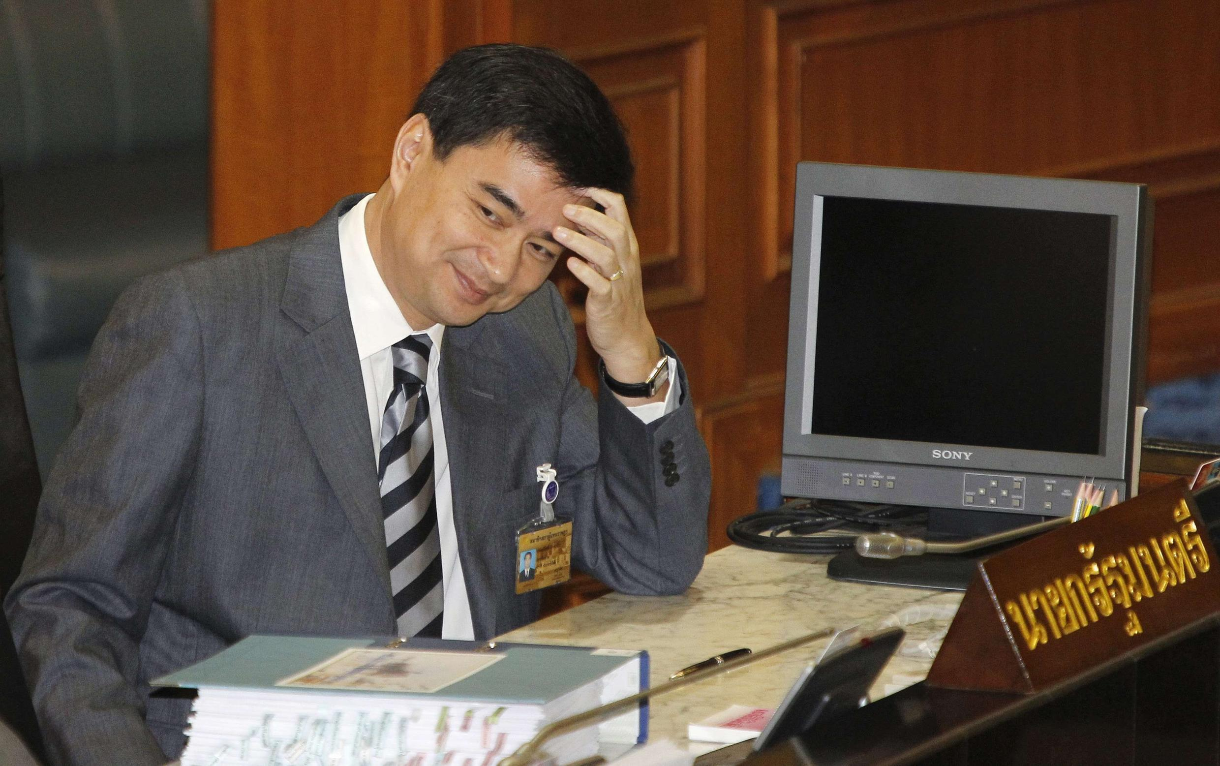 Thailand's Prime Minister Abhisit during a parliamentary session in Bangkok