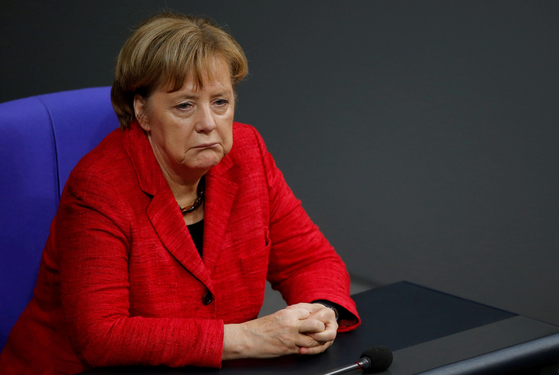 Thử tướng Merkel với gương mặt não nề sau thất bại đàm phán thành lập chính phủ, Berlin ngày 21/11/2017.
