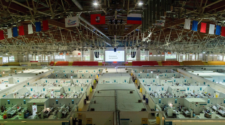 Hôpital temporaire pour les patients Covid-19 dans le palais de glace Krylatskoye à Moscou, le 11 juin 2021.