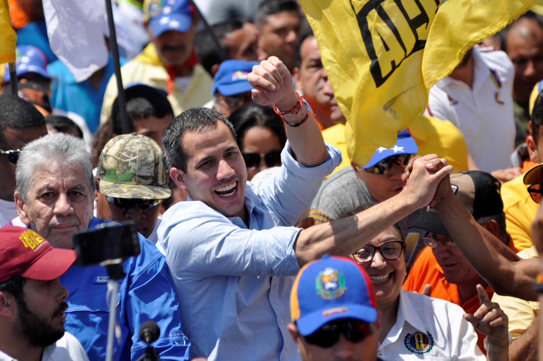 Le chef de l'opposition vénézuélienne Juan Guaido, que de nombreux pays ont reconnu comme le chef intérimaire légitime du pays, lors d'une manifestation à Barquisimeto, le 29 février 2020.