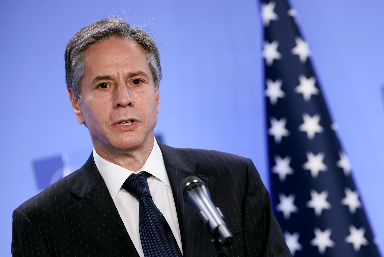 El secretario estadounidense de Estado, Antony Blinken, el 14 de abril de 2021 en la sede de la OTAN en Bruselas