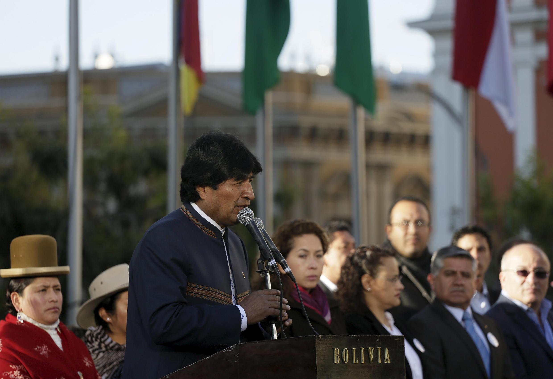 El presidente Evo Morales durante una ceremonia en la plaza Murillo, La Paz, 4 de mayo de 2015.