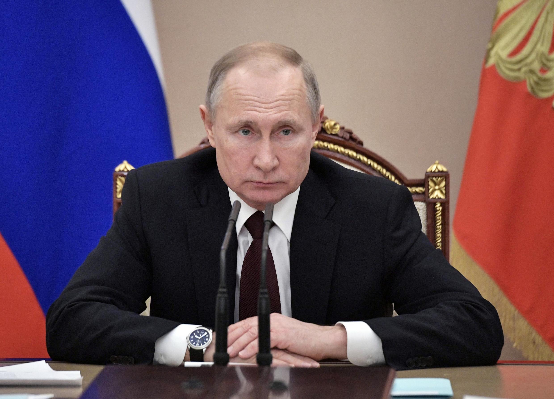 លោកប្រធានាធិបតីរុស្ស៊ី  Vladimir Poutine  នៅ Moscou ក្នុងខែកុម្ភៈ២០២០។