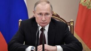 លោកប្រធានាធិបតីរុស្ស៊ី  Vladimir Poutine  នៅ Moscou ថ្ងៃទីកុម្ភៈ២០២០.