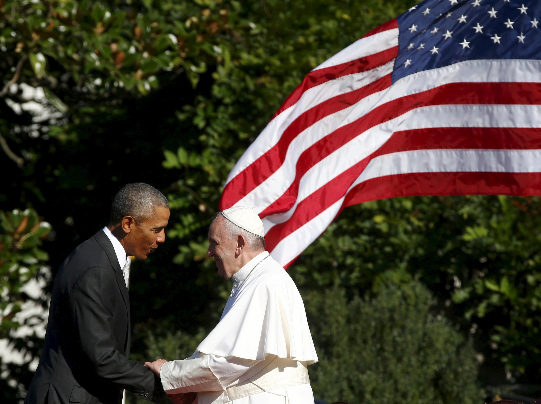 Barack Obama acoge al papa Francisco en la Casa Blanca, este 23 de septiembre.