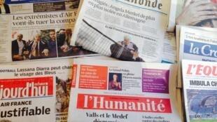 Primeira páginas dos diários franceses de 6/10/2015