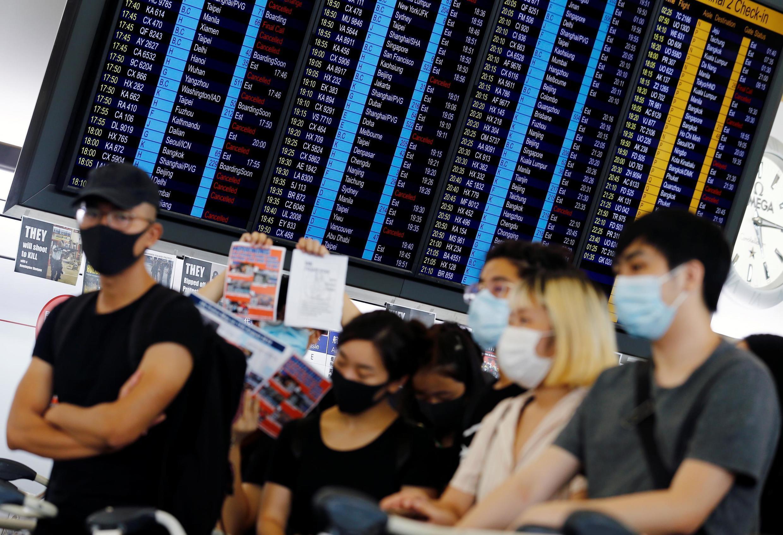 Người biểu tình tại sân bay Hồng Kông ngày 13/08/2019.
