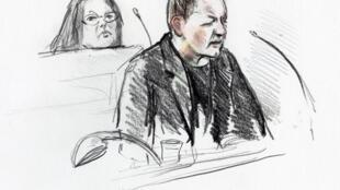 Esboço do réu Peter Madsen durante seu julgamento pelo assassinato da jornalista Kim Wall, em Copenhague.