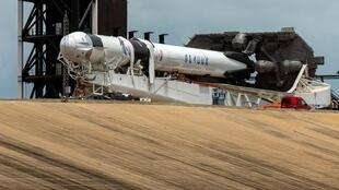 Préparations du premier lancement d'un vol habité par SpaceX, à Cape Canaveral en Floride, le 26 mai 2020.