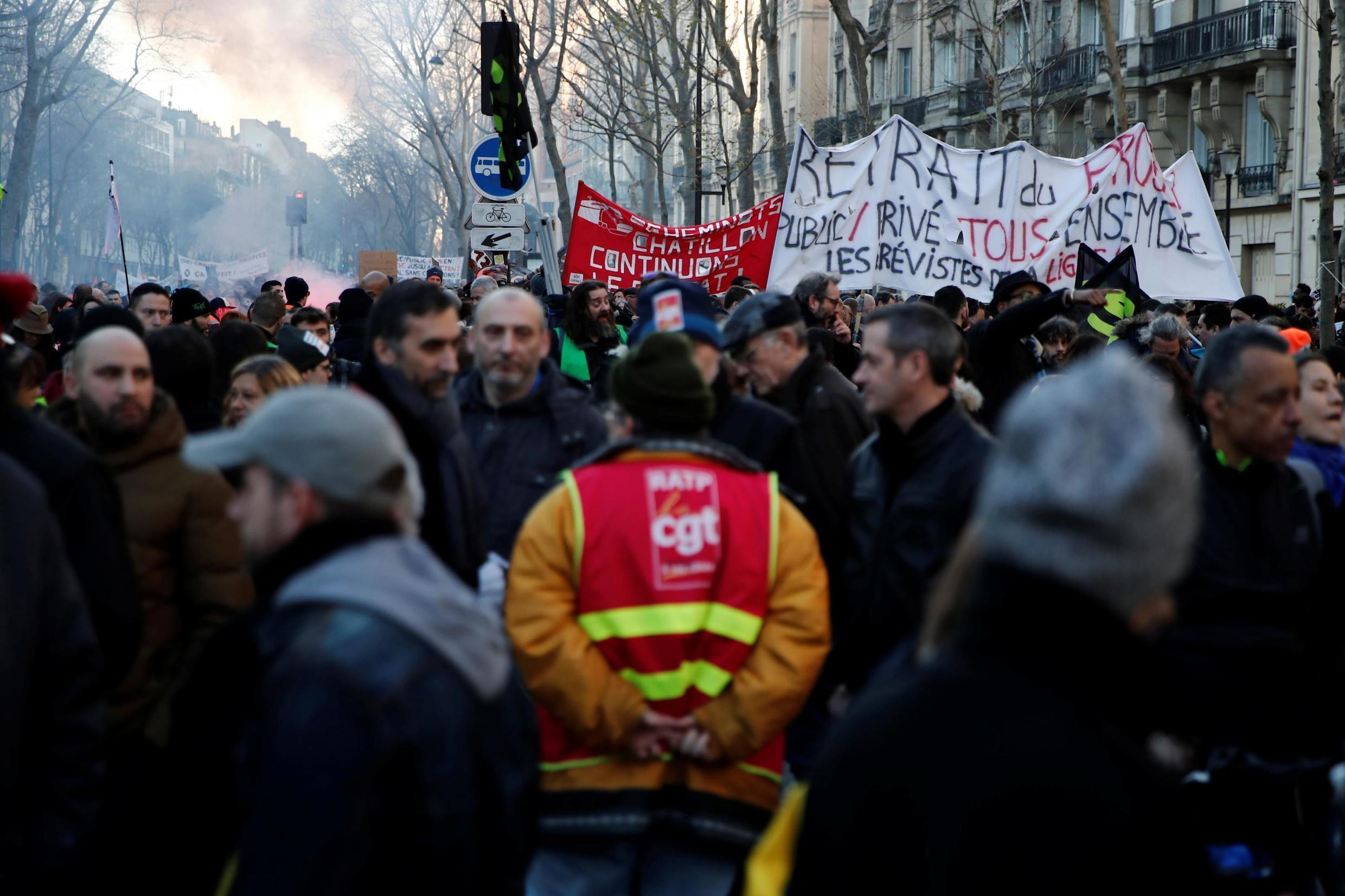 French labour unions and workers on strike attend a demonstration against French government's pensions reform plans in Paris as France faces its 43rd consecutive day of strikes January 16, 2020.
