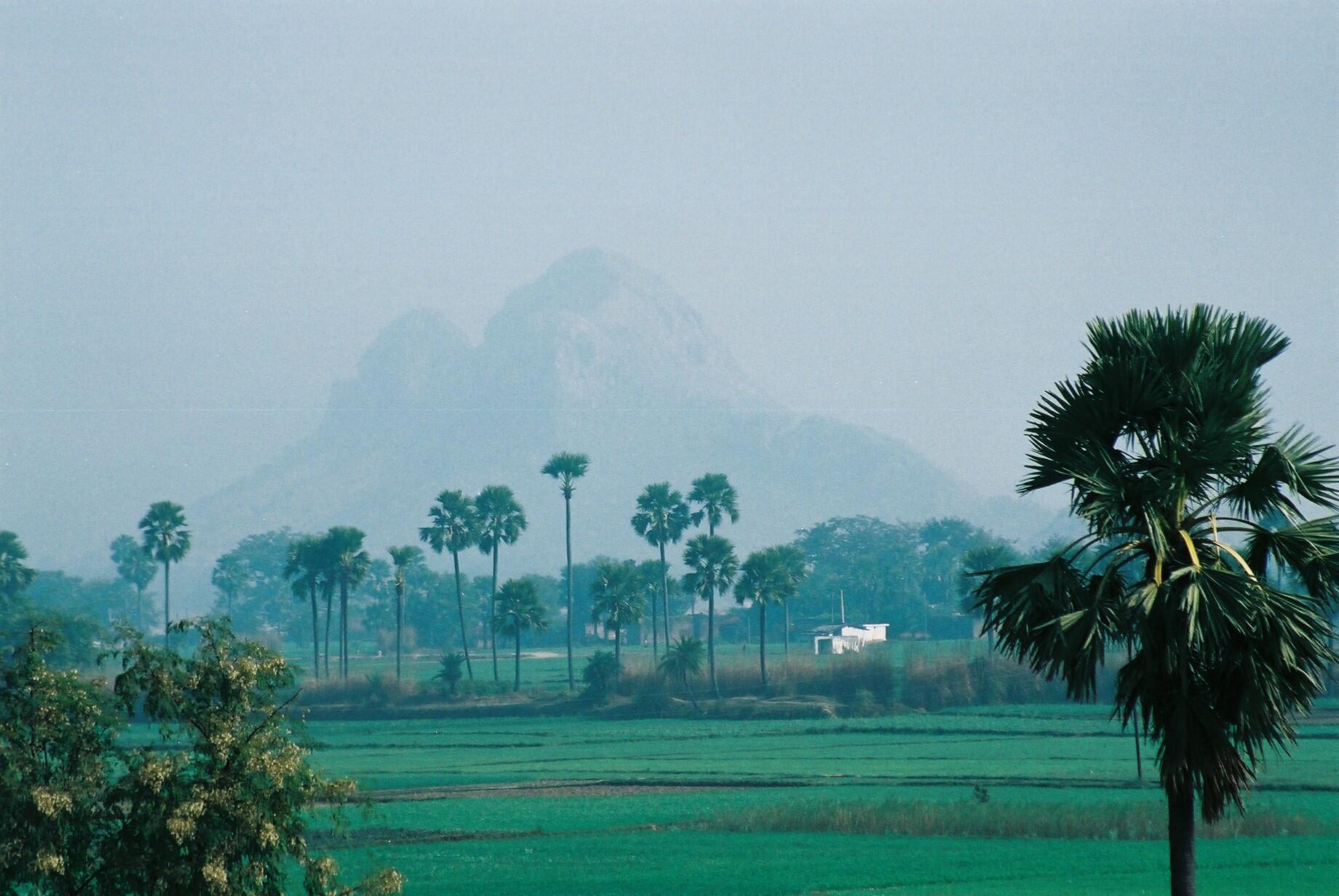 Mountain of Ashrams at Buddha Gaya, Bihar state in India