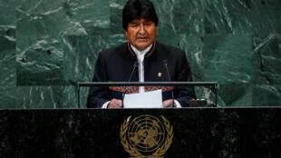 Le président bolivien Evo Morales à la tribune de l'Assemblée générale de l'ONU, le 26 septembre 2018.