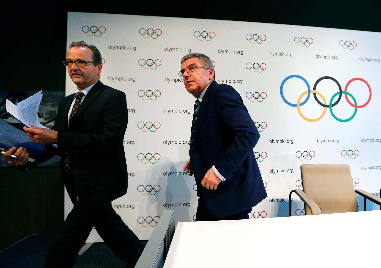 Presidente do Comitê Olímpico Internacional Thomas Bach na entrevista coletiva na Suíça.