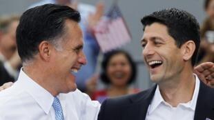 Mitt Romney y su compañero de fórmula Paul Ryan.