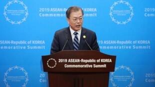 Tổng thống Hàn Quốc Moon Jae In tại thượng đỉnh ASEAN - Hàn Quốc, Busan, ngày 26/11/2019.