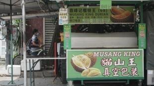 Une échoppe qui vend le Durian, ce fruit aussi bien haï par certains pour son odeur comparée à celui d'un corps en décomposition ou bien à des poubelles en plein soleil, qu'idolâtré par d'autres comme détenteur de vertus médicinales incroyables.